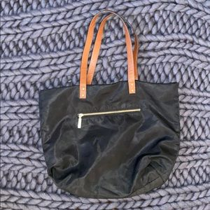 Black bag with leather straps